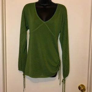 Green V Neck Ruched Sude Peasant Sleeve Top